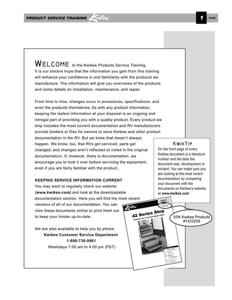 kwikee steps service manual on