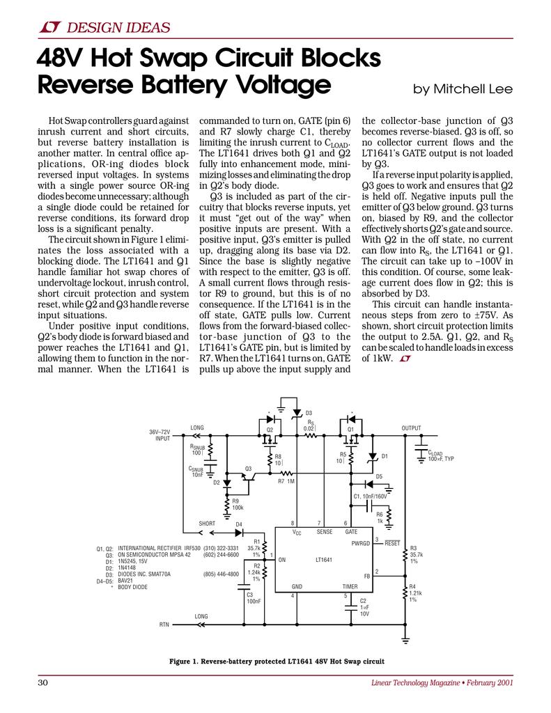Feb 2001 48V Hot Swap Circuit Blocks Reverse Battery Voltage
