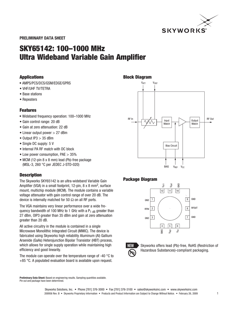 Sky65142 1001000 Mhz Ultra Wideband Variable Gain Amplifier Monolithic Microwave Integrated Circuit Mmic If And Power