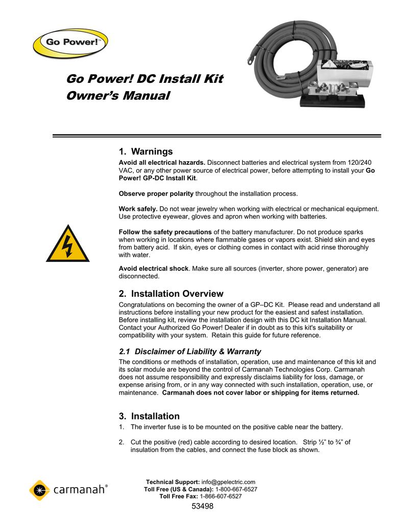 Go Power! DC Install Kit Owner`s Manual