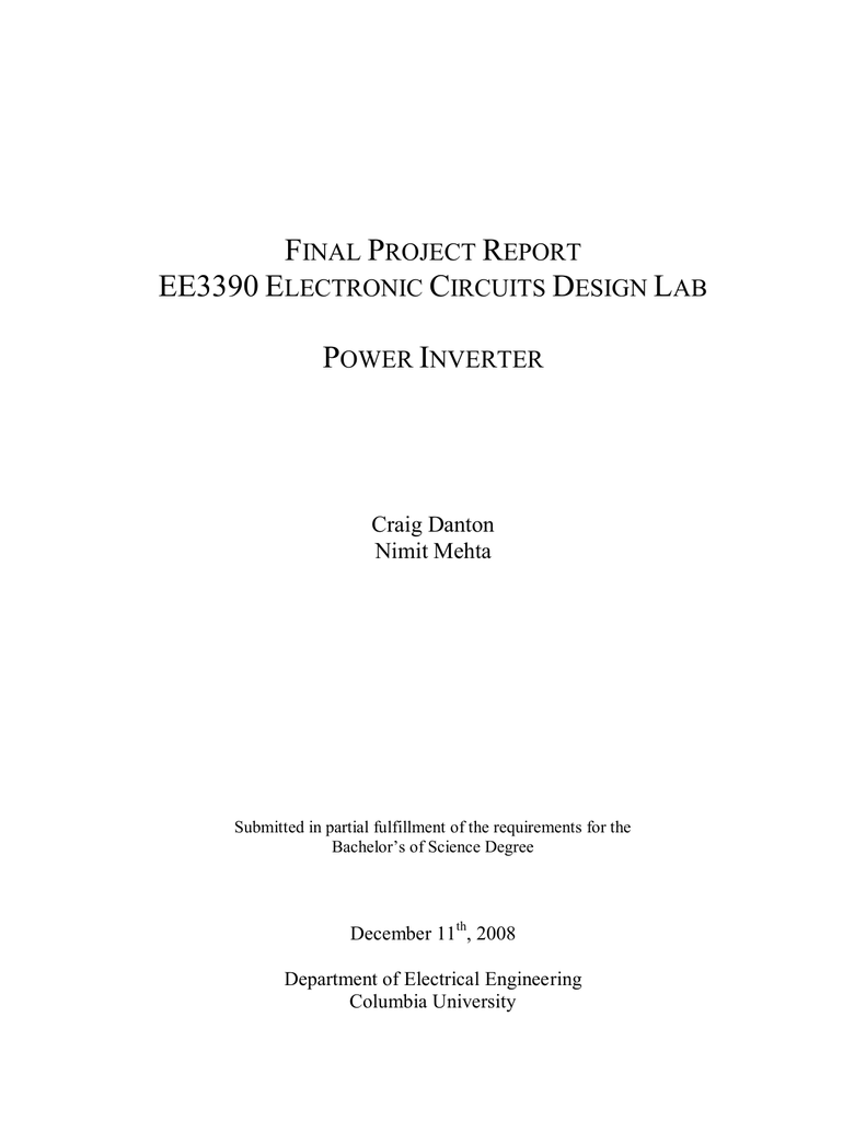 Final Project Report Ee3390 Electronic Circuits Design Lab Power In This Case Is The Inverter Crystal Drive Circuit Fig 1