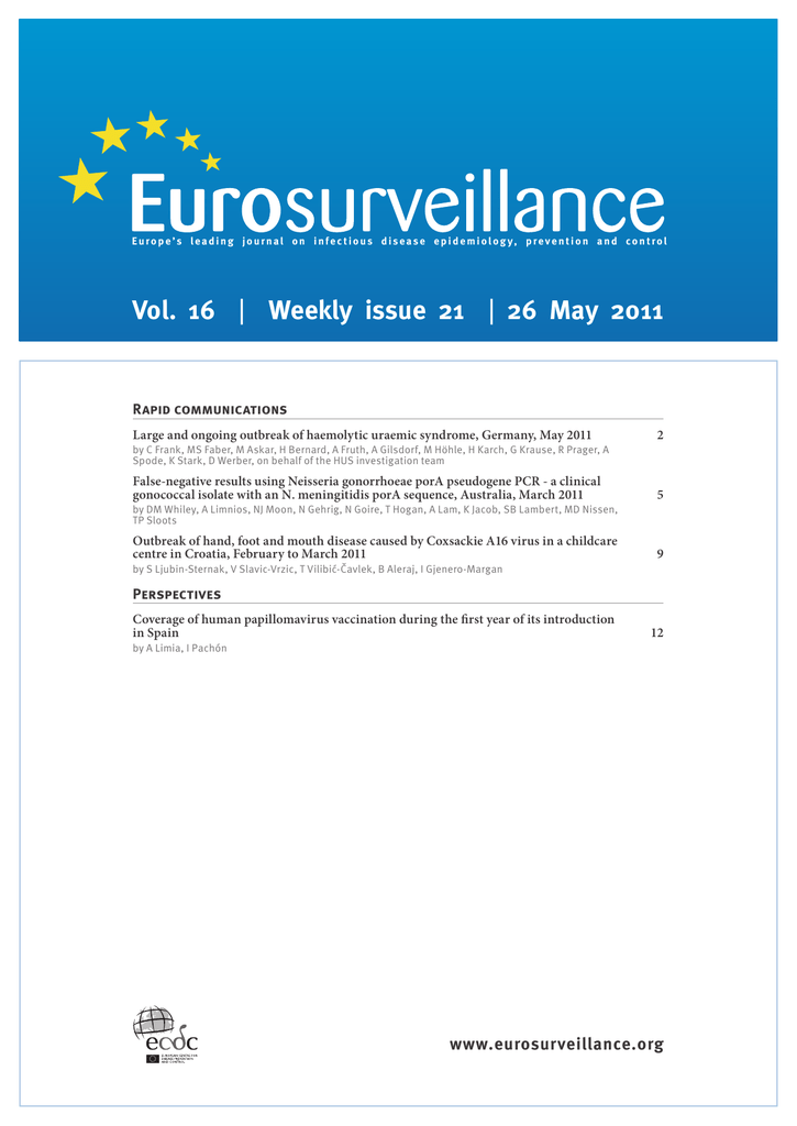 Vol 16 Weekly Issue 21 26 May 2011