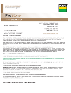Boral ProStone® 3-Part Specification