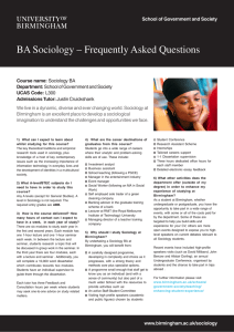 Sociology BA Frequently Asked Questions flyer