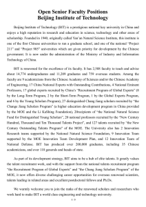 Open Senior Faculty Positions Beijing Institute of Technology