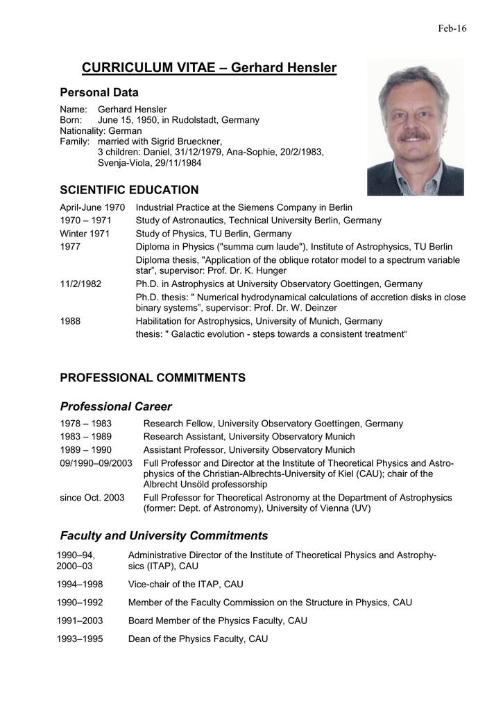 curriculum vitae gerhard hensler