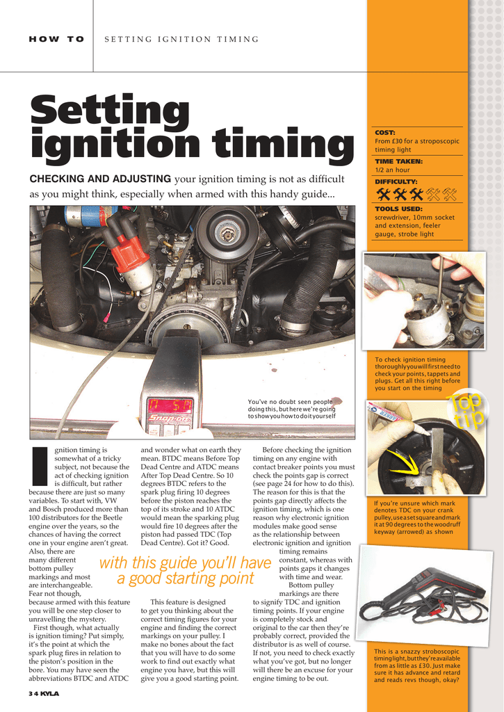 Setting ignition timing