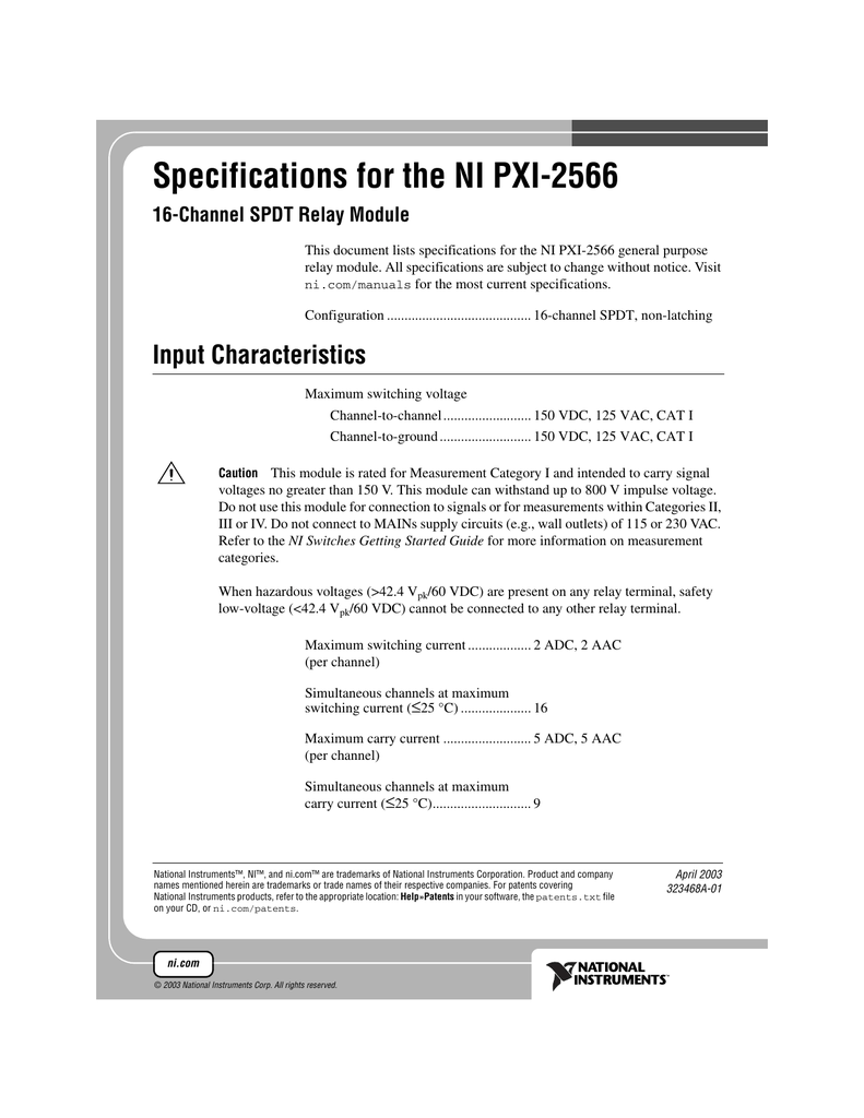 Specifications for the NI PXI-2566