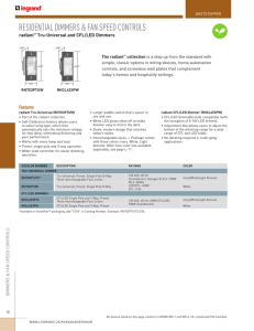 radiant TU and CFL LED Dimmers Catalog Page