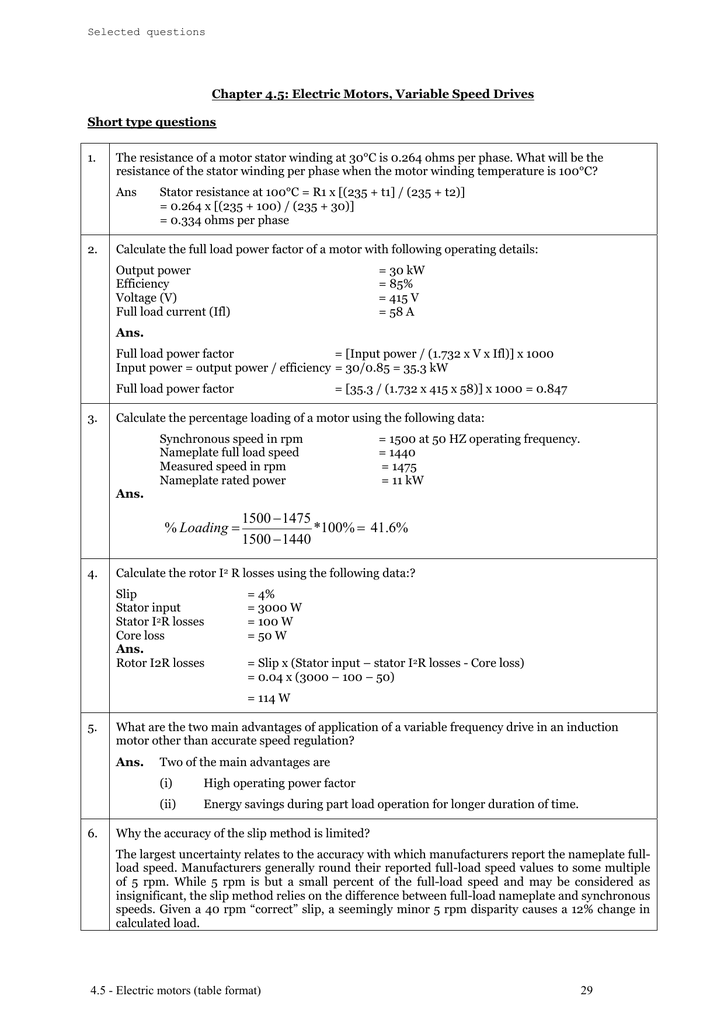 Electric motors (table format)