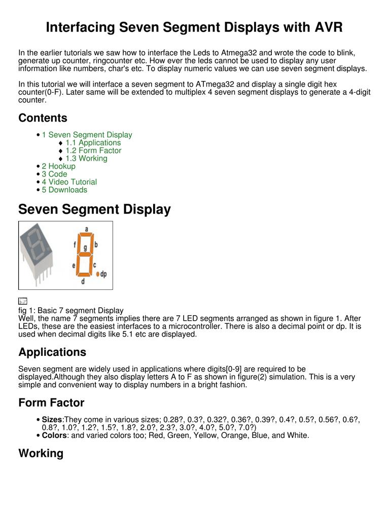 Interfacing Seven Segment Displays With Avr Segments Of Display
