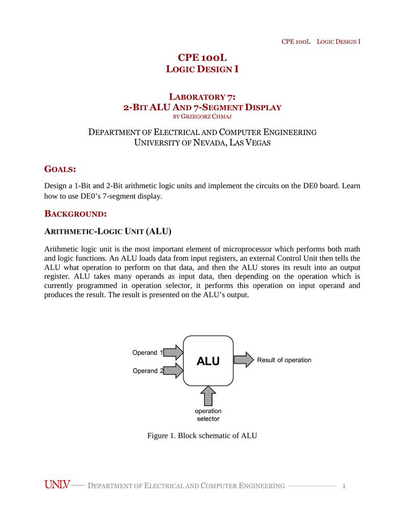 2 Bit Alu And 7 Segment Display University Of Nevada Las Vegas Circuit Diagram For The 7segment