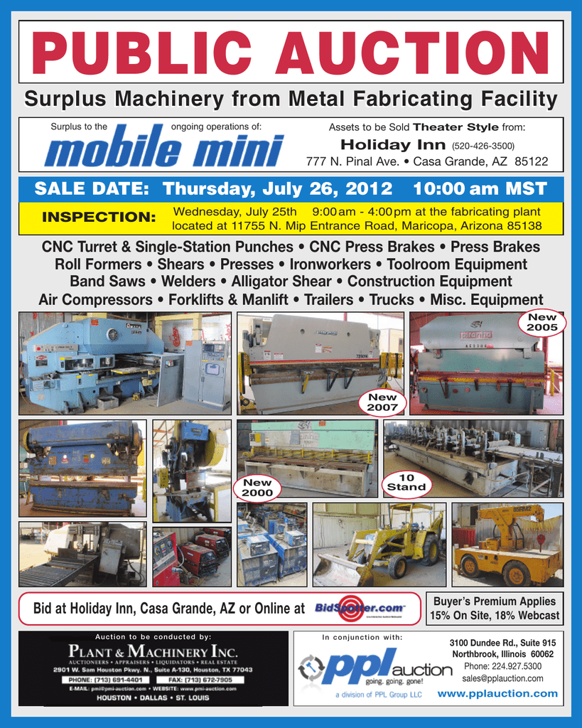 Surplus Machinery from Metal Fabricating Facility