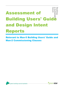 Assessment of Building Users` Guide and Design Intent Report
