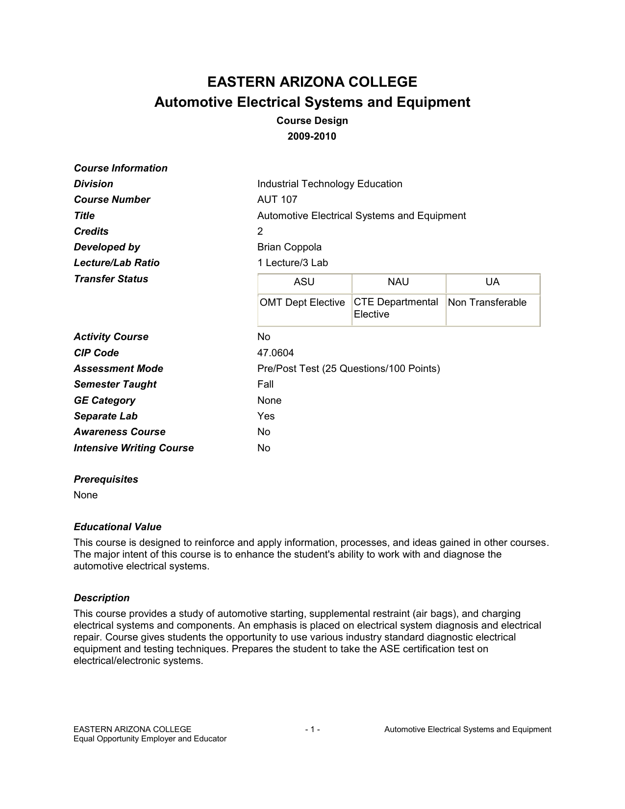 Automotive Electrical Systems And Equipment