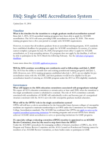 FAQ: Single GME Accreditation System