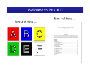 Welcome to PHY 100
