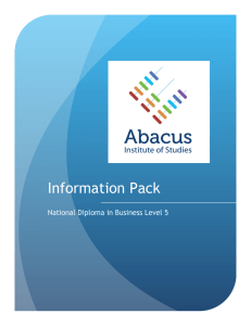 Information Pack - Abacus Institute Of Studies
