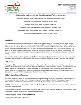 Guidelines for Implementing and Maintaining Virtual Reference