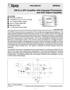250 V/µs APC Amplifier with Integrated Photodiode and Gain