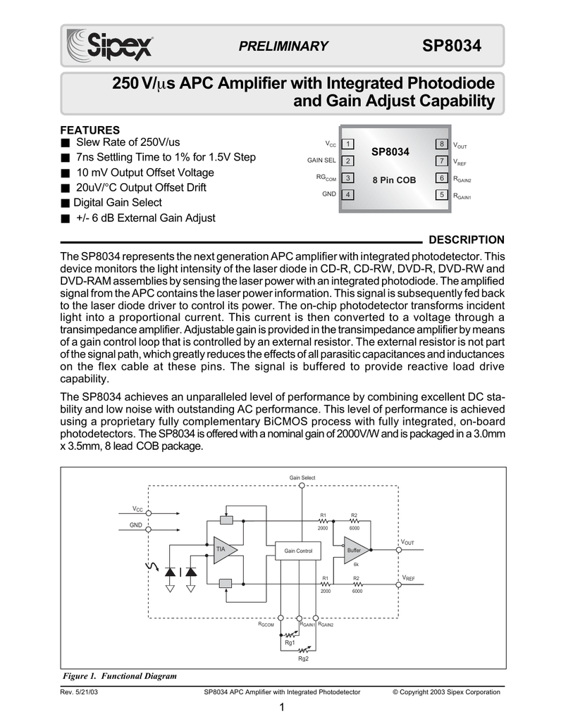 250 V S Apc Amplifier With Integrated Photodiode And Gain Figure 3 Transimpedance Circuit Converting A Current Into