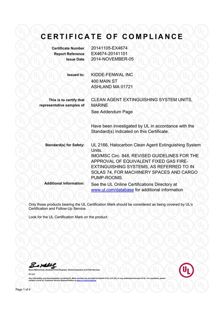Kidde Ads Novec 1230 Ul Certificate Of Compliance