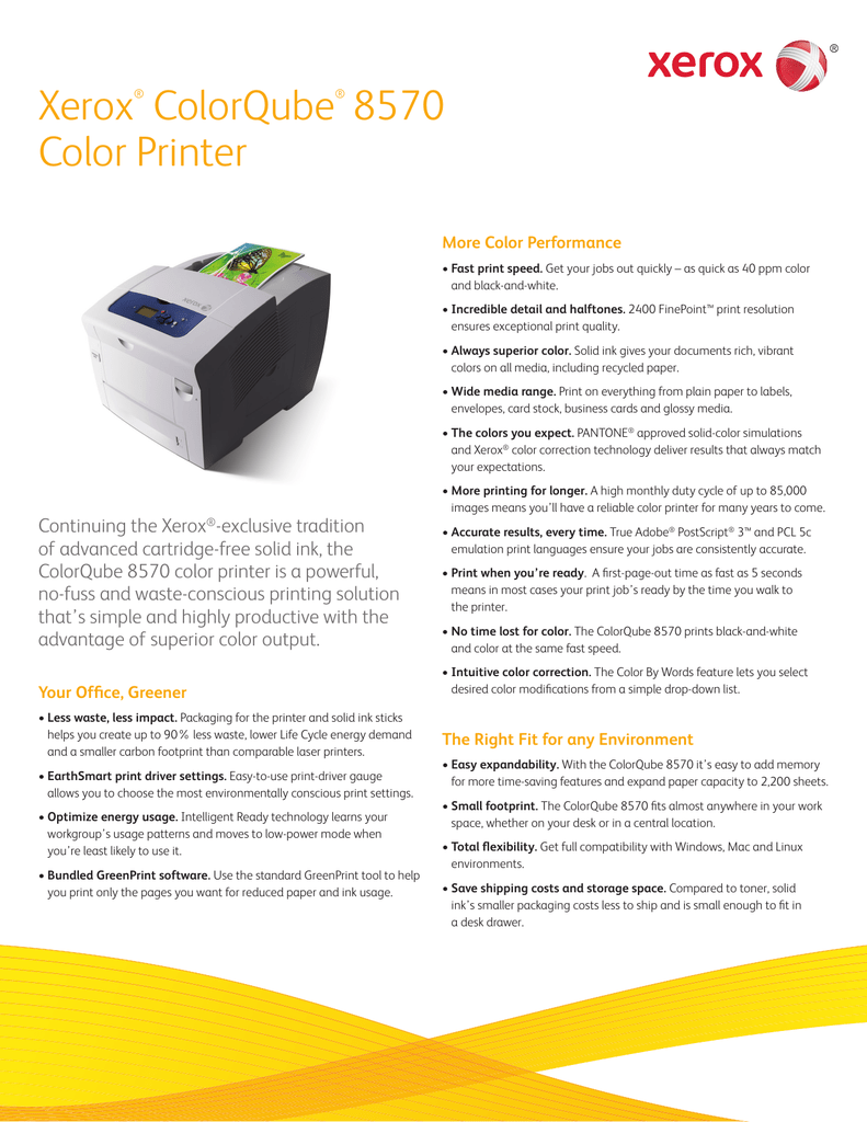 ColorQube 8570 Solid Ink Color Printer - Product Brochure