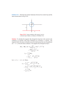 Problem 5.41 Determine the mutual inductance between the circular
