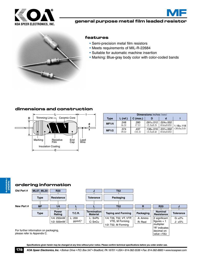 Features Semi Precision Metal Film Resistors Meets Requirements Of Pa 200 Wiring Diagram