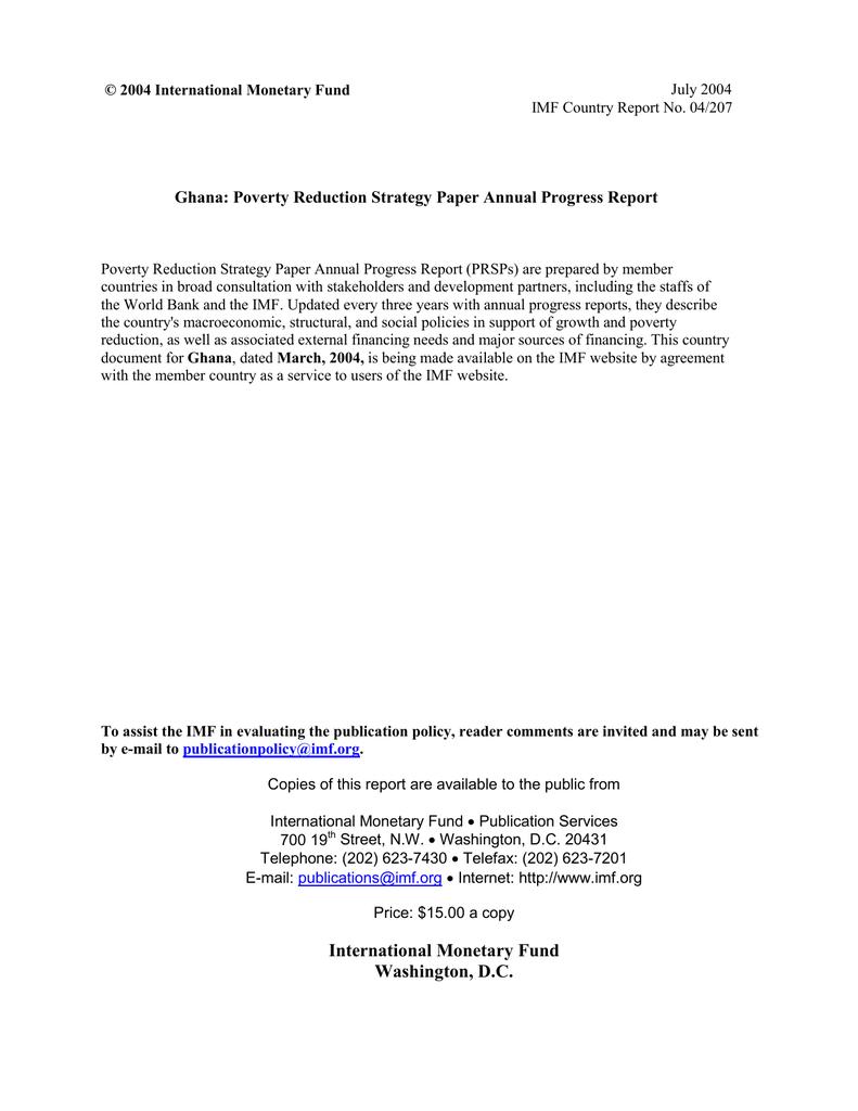 ghana poverty reduction strategy paper volume ii fund international monetary