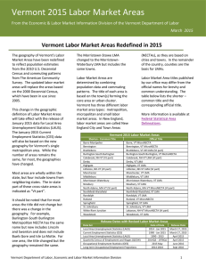 2015 Labor Market Areas - Vermont Department of Labor