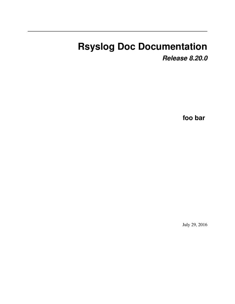 Rsyslog Doc Documentation