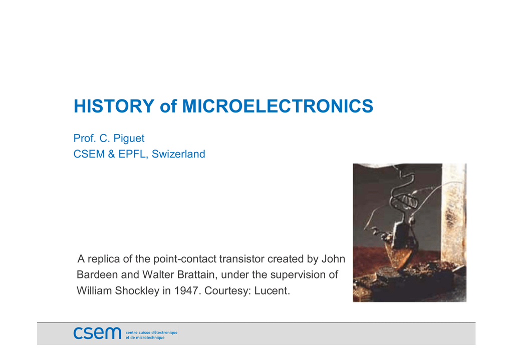 HISTORY of MICROELECTRONICS