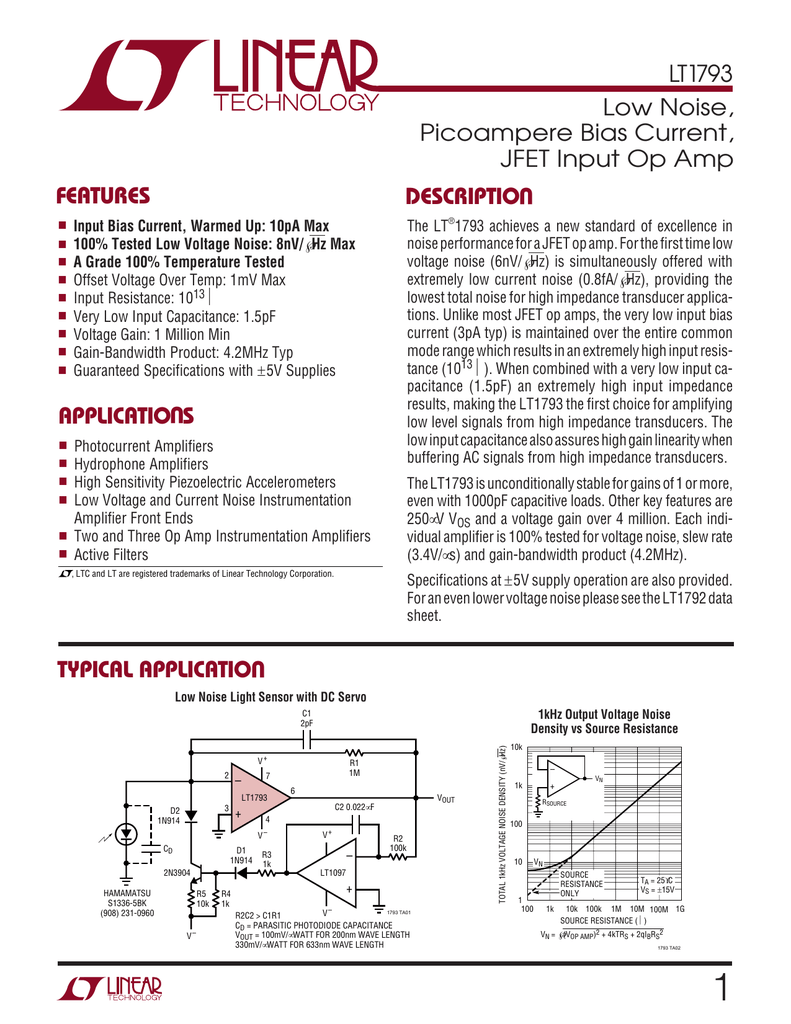 Lt1793 Linear Technology 1m 100k 1 And Is Suitable For Measuring Dc Voltages Up To