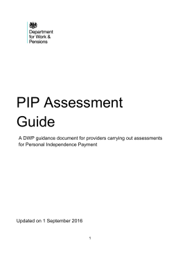 Personal Independence Payment assessment guide