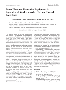 Use of Personal Protective Equipment in Agricultural Workers under