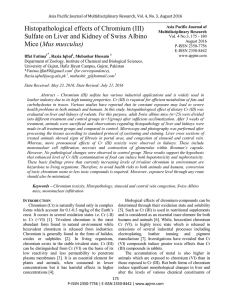 (III) Sulfate on Liver and Kidney of Swiss Albino Mice