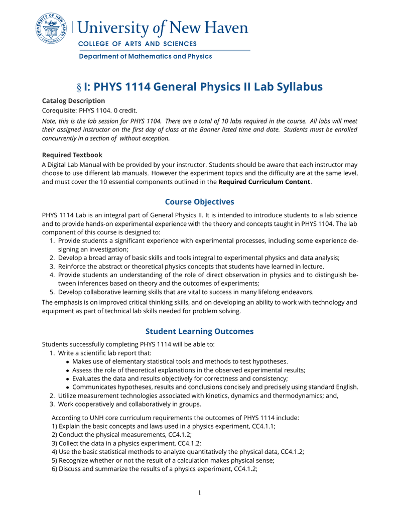 §I: PHYS 1114 General Physics II Lab Syllabus