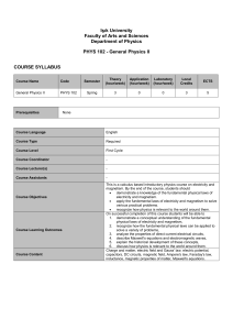 General Physics II COURSE SYLLABUS