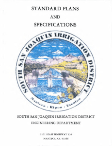 standard plans specifications - South San Joaquin Irrigation District