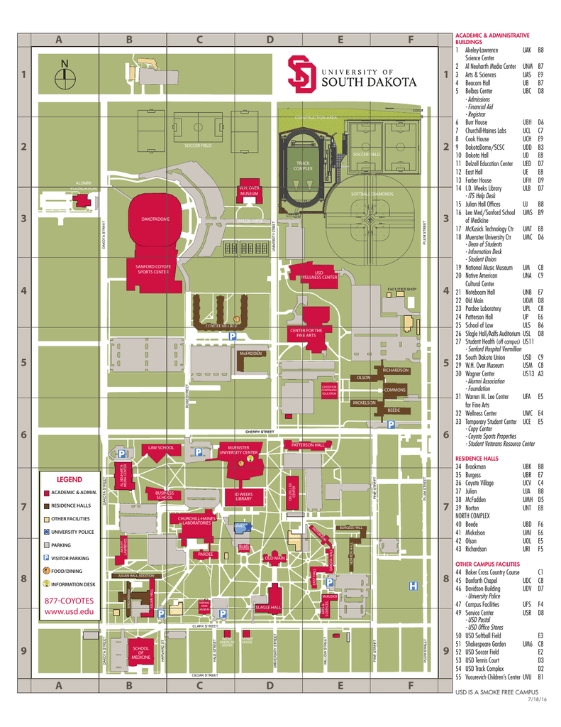 Usd Vermillion Campus Map.Campus Map University Of South Dakota