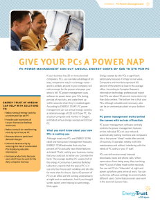 PC Power Management Fact Sheet