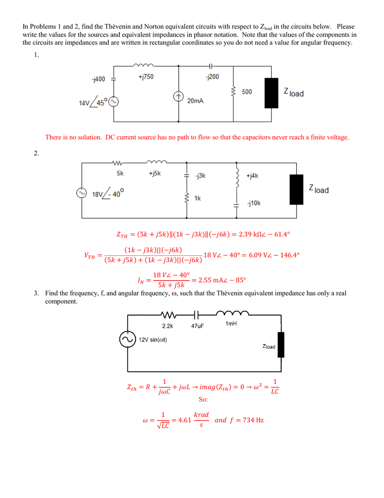 In Problems 1 And 2 Find The Thvenin Norton Equivalent Ac Thevenin Circuit With Current Voltage Source