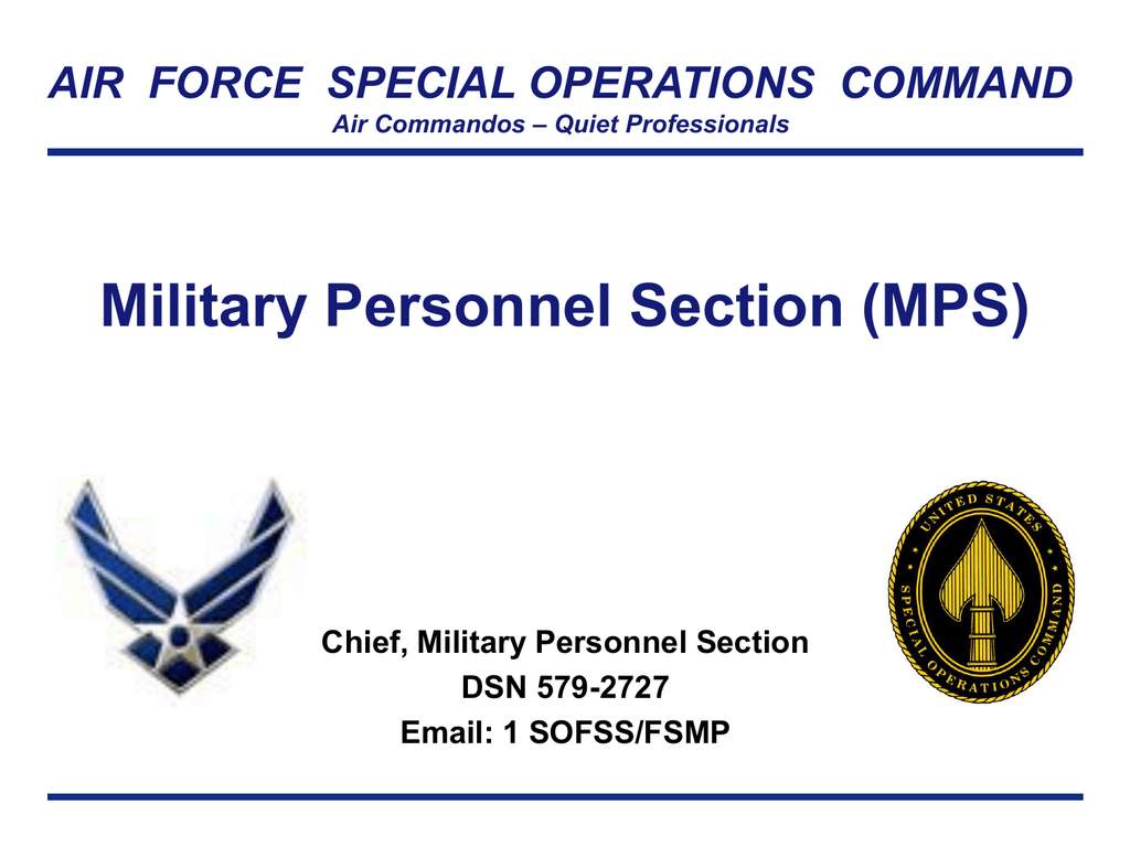 Military Personnel Section (MPS) - Hurlburt Field Force Support