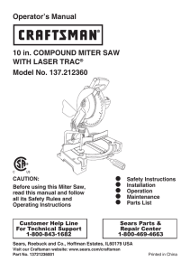 Operator`s Manual 10 in. COMPOUND MITER SAW WITH LASER