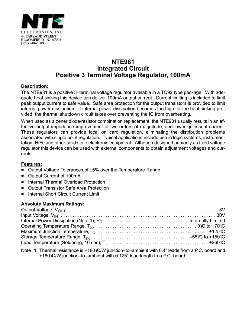 Nte981 Nte Electronics Inc Linear Integrated Circuit Questions And Answers Voltage Limiter
