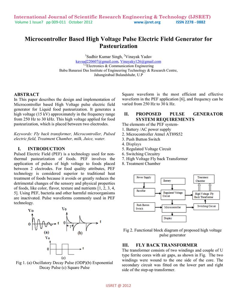 Microcontroller Based High Voltage Pulse Electric Field Transformer Block Diagram