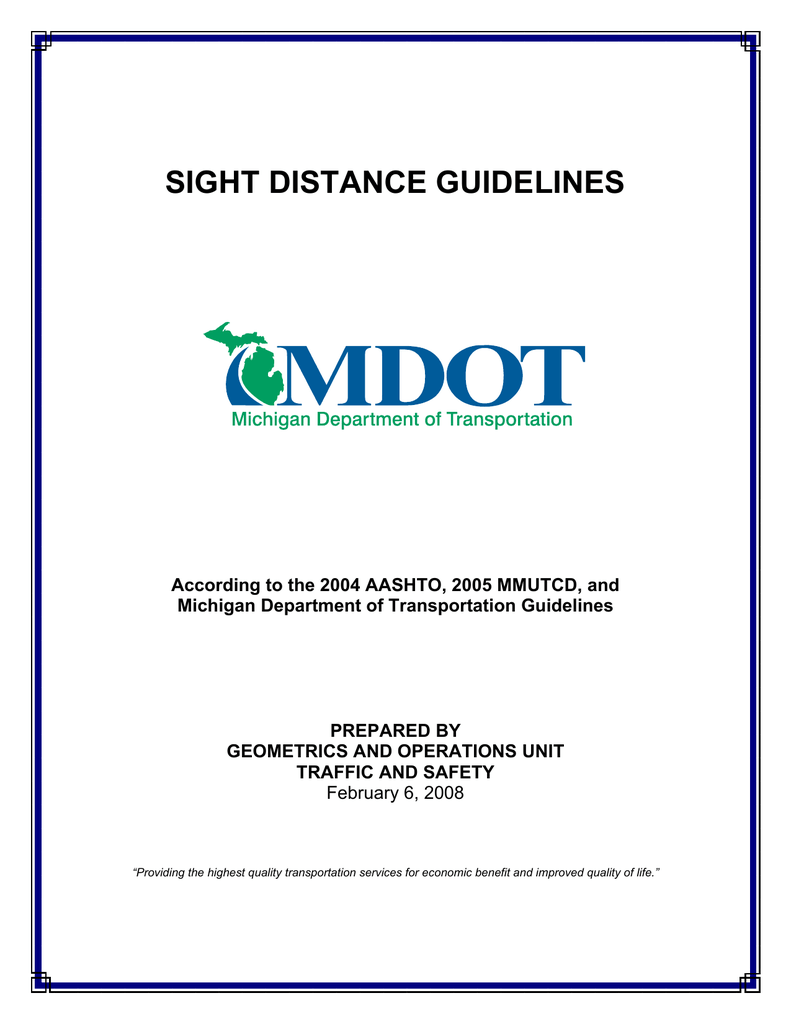 Mdot Sight Distance Guidelines
