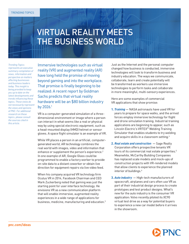 VIRTUAL REALITY MEETS THE BUSINESS WORLD