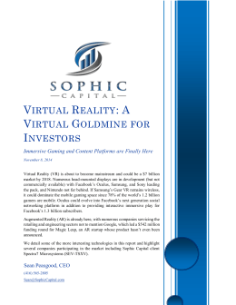 Virtual Reality: A Virtual Goldmine for Investors